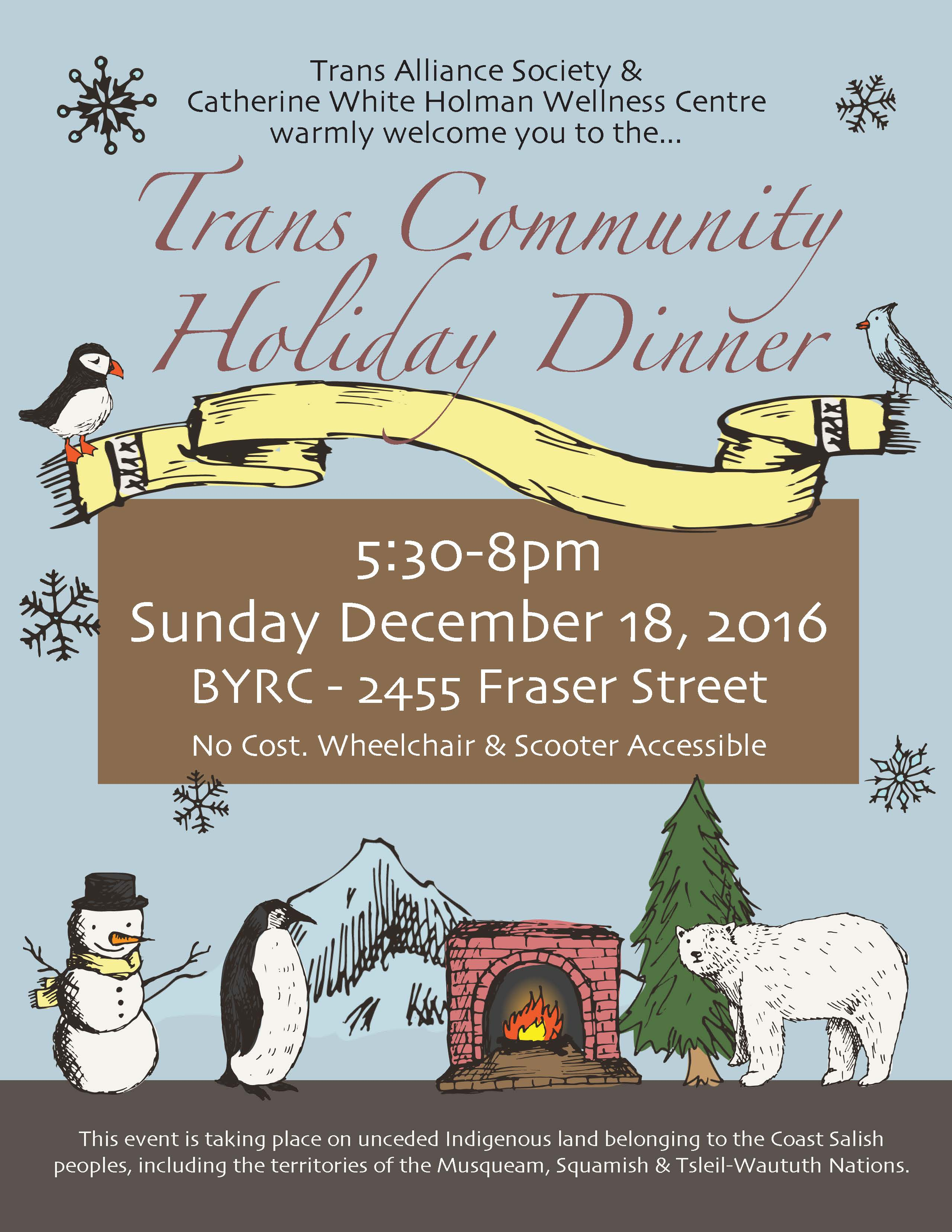 Trans Community Holiday Dinner Poster; details in following text.